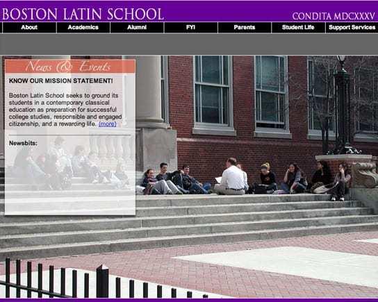 Boston Latin School Full Screen Homepage