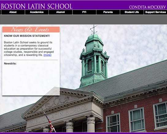 Boston Latin School Full Screen Homepage