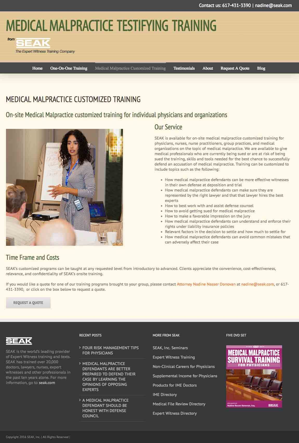 SEAK Malpractice Testifying Training